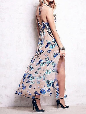 Khaki Floral Spaghetti Strap Back Cross Side Split Maxi Dress