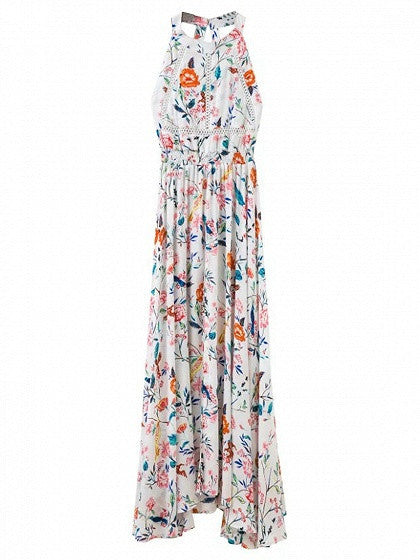 Polychrome Floral Open Back Tie Waist Split Maxi Beach Dress