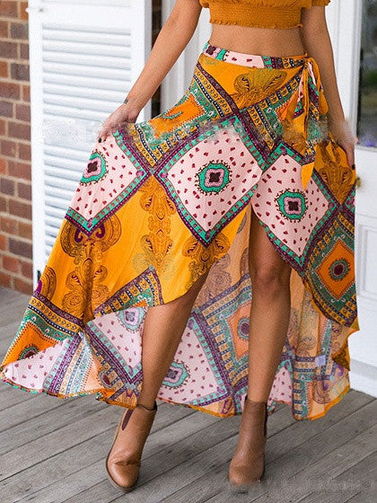 Yellow Geo-Tribal Print Tie Waist Tulip Maxi Skirt