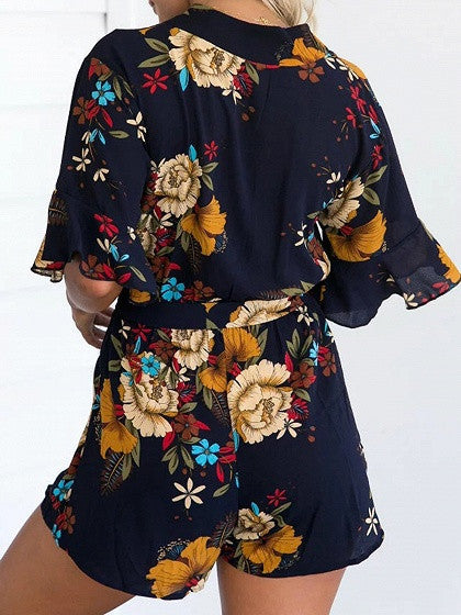 Polychrome V-neck Ruffle Sleeve Floral Tie Waist Romper Playsuit
