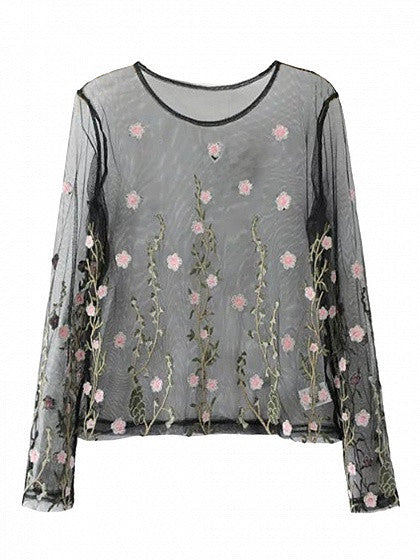 Black Embroidery Floral Long Sleeve Sheer Mesh Blouse