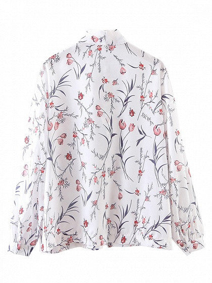 Polychrome Floral Lace Up Front Long Sleeve Chiffon Shirt