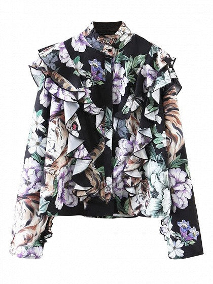 Polychrome Mock Neck Floral Ruffle Trim Long Sleeve Shirt