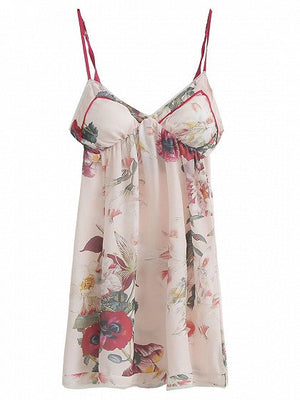 Polychrome V-neck Floral Spaghetti Strap Mini Sleep Dress