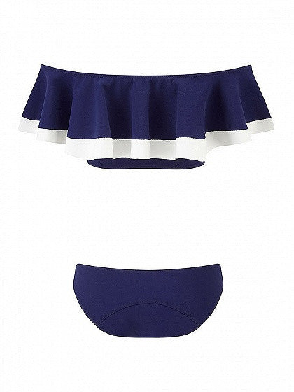 Navy Blue Contrast Trim Off Shoulder Ruffle Bikini Top and Bottom