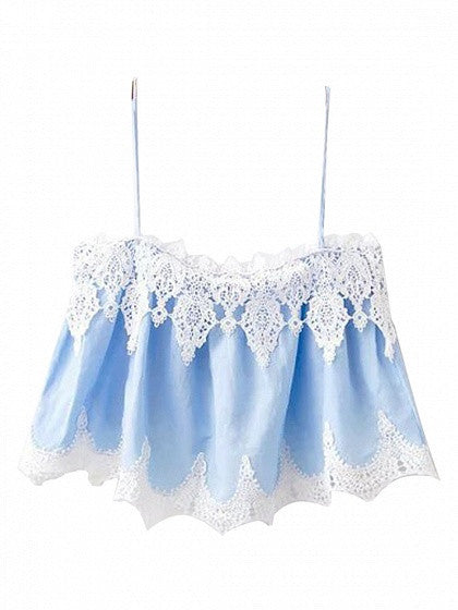 Blue Lace Trim Spaghetti Strap Crop Top