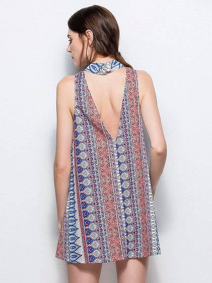 Geo-tribal Back Cutout Mock Neck Choker Sleeveless Boho Shift Mini Dress