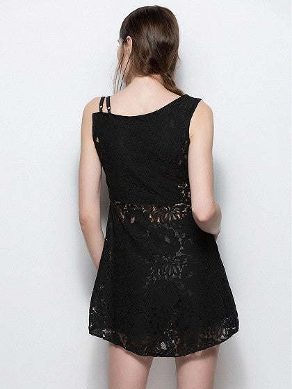 Black One Shoulder Strap Lace Mini Dress