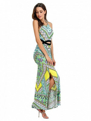 Green Geo-tribal Open Belly Side Split Maxi Dress