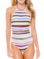 Polychrome Stripe Halter Scallop Trim Backless One-piece Swimsuit