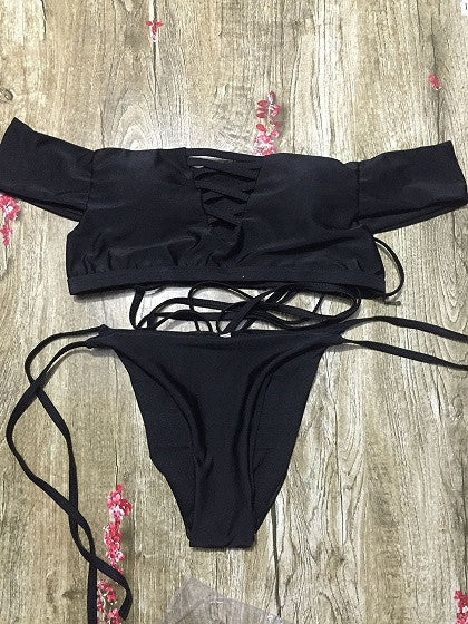 Black Off Shoulder Strappy Cross Bikini Top And Bottom