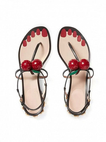 Black Cherry Toe Post Pearl Embellished Flat Sandals