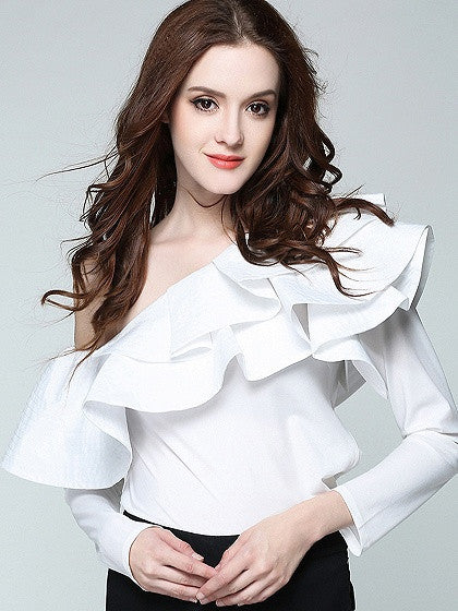 White One Shouder Double Ruffle Long Sleeve Top