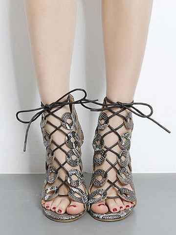 Black Snake Skin Caged Lace Up Heeled Sandals
