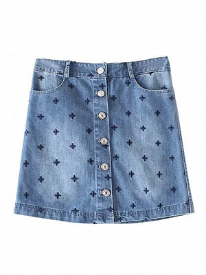 Blue Lightwash High Waist Embroidery Star Denim Skirt