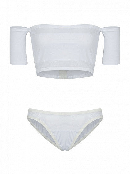 White Off Shoulder Sheer Panel Crop Top Bikini Top And Bottom