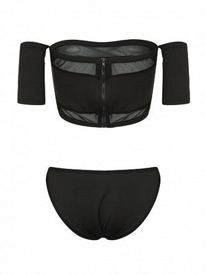 Black Off Shoulder Sheer Panel Crop Top Bikini Top And Bottom