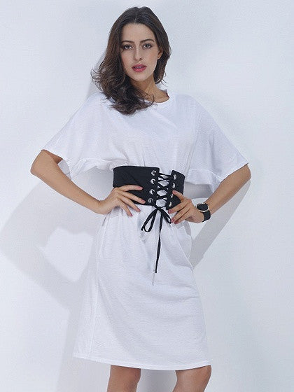 White Short Sleeve Corset Belt T-shirt Dress