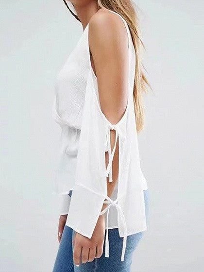 White V-neck Cold Shoulder Tie Sleeve Blouse