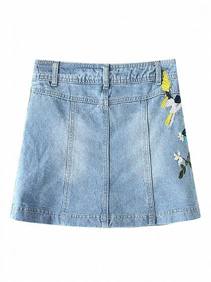 Blue Light Wash Embroidery Mini A-line Denim Skirt