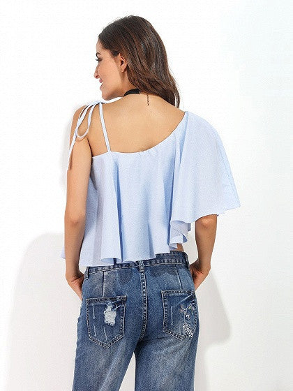 Blue One Shoulder Ruffle Tie Shoulder Top