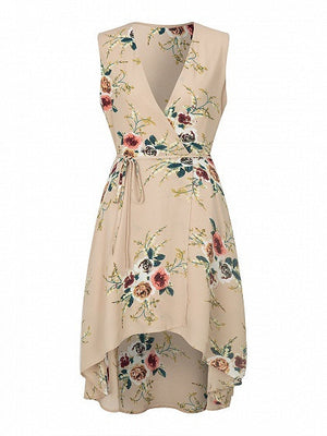 Khaki Wrap V-neck Sleeveless Floral Dipped Hem Boho Dress