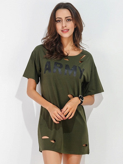 Army Green Letter Printed Ripped Short Sleeve Mini T-shirt Dress Top