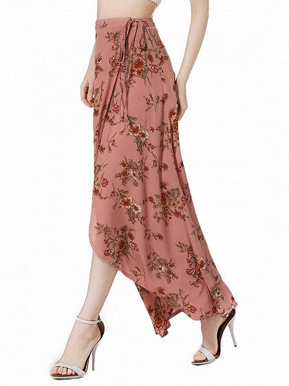 Pink Floral High Waist Boho Wrap Maxi Skirt