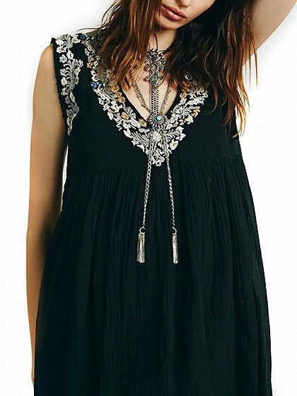 Black V-neck Sleeveless Embroidery Trim Swing Mini Dress