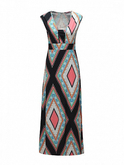 Polychrome Square Neck Sleeveless Geo Printed Empire Maxi Dress