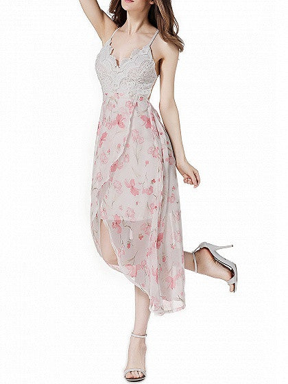 Pink Floral Printed Backless Crochet Lace Spliced Spaghetti Strap Midi Dress