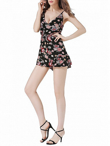 Black Wrap V-neck Floral Print Cami Romper Playsuit