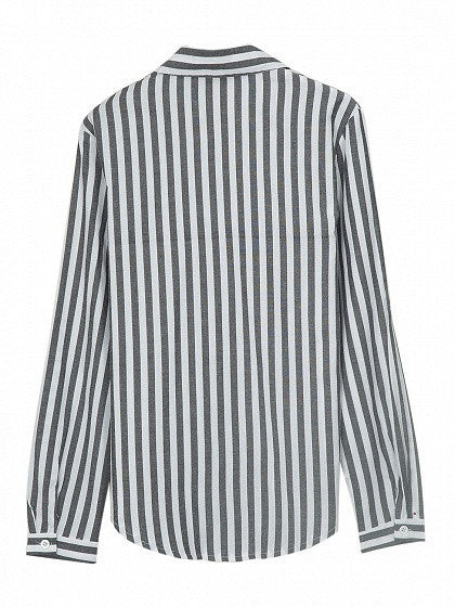 Gray Stripe Pointed Collar Long Sleeve Shirt