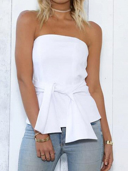 White Tie Front Zip Back Bandeau Top
