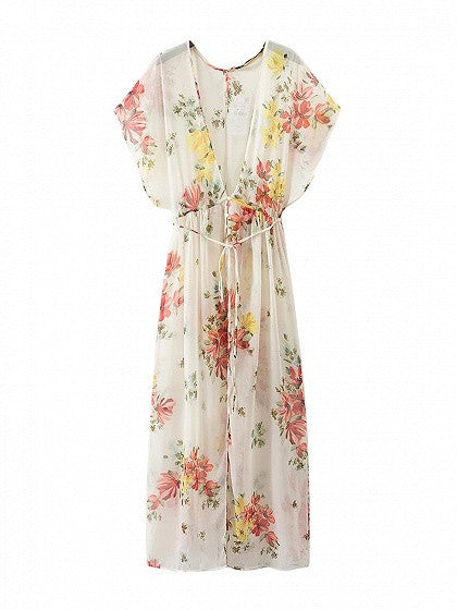 Polychrome Floral Tie Waist Side Split Maxi Dress
