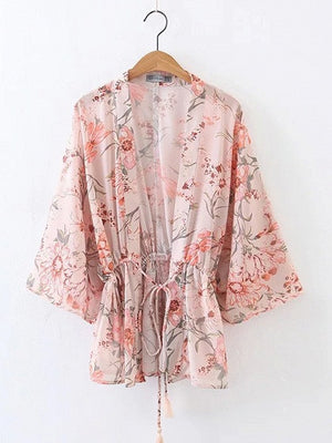 Pink Floral Batwing Sleeve Tie Waist Kimono Top