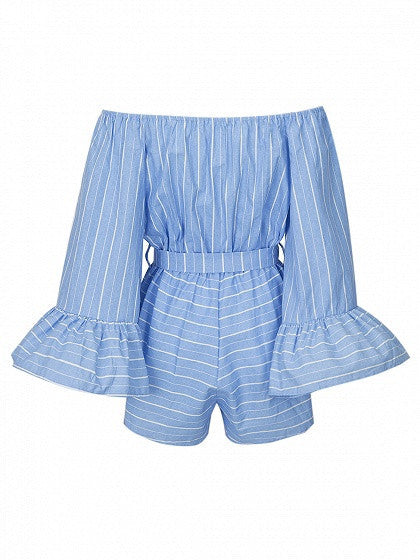 Blue Stripe Off Shoulder Bell Sleeve Tie Waist Romper Playsuit