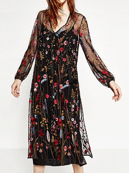 Black Long Sleeve Embroidery Floral Split Sheer Mesh Dress
