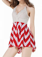 Red Chevron Lace Spliced Backless Top Spaghetti Strap Romper Playsuit