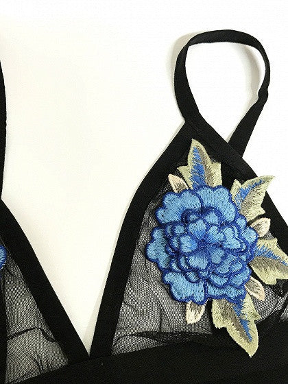 Black Embroidery Floral Patch Sheer Mesh Bralet