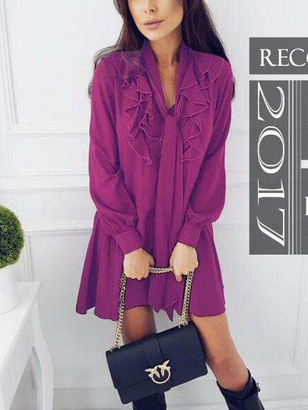 Purple V-neck Tie Front Ruffle Trim Long Sleeve Mini Dress