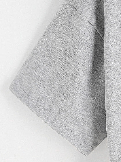 Gray Ripped Detail Alien Pattern Short Sleeve Top T-shirt
