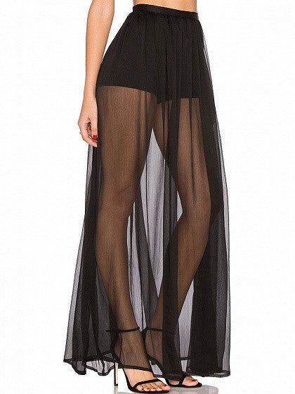 Black Short Lined Sheer Maxi Skirt