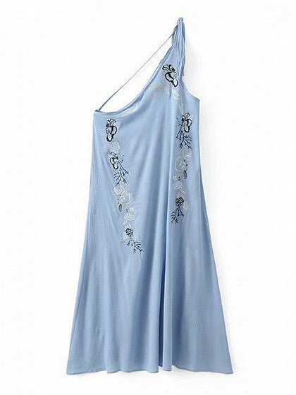Blue One Shoulder Embroidery Floral Backless Boho Maxi Dress