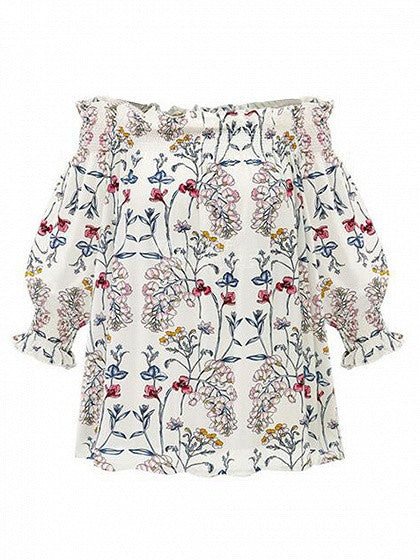 White Off Shoulder Floral Print Shirred Top