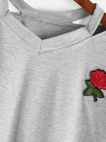Gray Ripped Neck Embroidery Floral Crop Top T-shirt