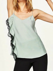 Green Lace Frill Silky Cami Vest Top