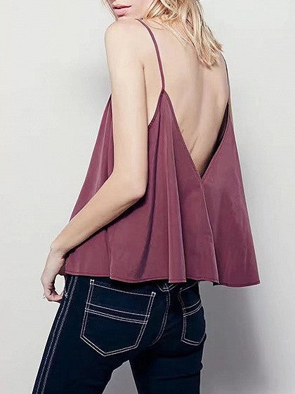 Purple Double V-neck Cropped Cami Top
