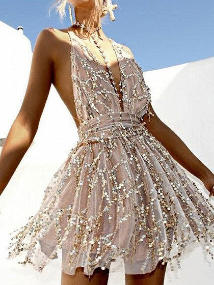 Beige Halter Plunge Neck Backless Sequins Romper Playsuit