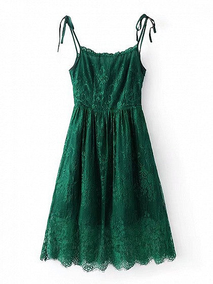Green High Waist Spaghetti Strap Lace Dress